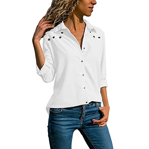 (Pengy Women Casual Button Down Top Three Quarter Sleeve Shirts Lady Plus Size Tops Loose Blouse White)
