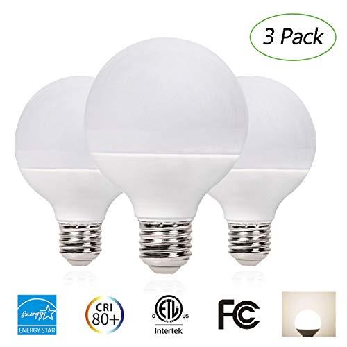 EFFOE G25 LED Globe Bulbs 7W (60W Equivalent), Frost Cover Light, Dimmable, E26 Base, 3000K Soft White, 500 Lumens, 220 Degree Beam Angle Energy Star Certified, 3 ()