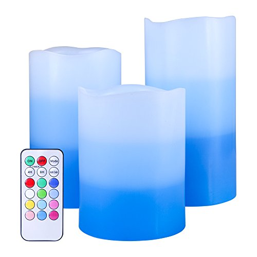 Wholesale 10' Taper Candles (Set of 3 Flameless LED Candles Color Changing Flicker,Light Mode Option Tri-Layer LED Pillar Candle with Timer and 18-key Remote for for Wedding,Votive,Yoga and Decoration)
