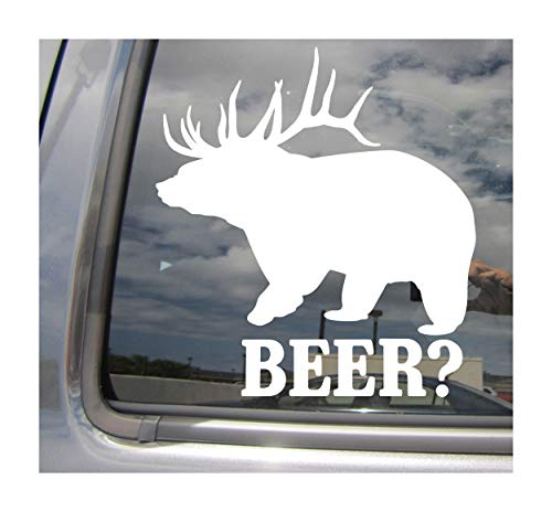 (Right Now Decals Beer? - Deer Bear Hunter Hunting Funny Humorous Hilarious - Cars Trucks Moped Helmet Hard Hat Auto Automotive Craft Laptop Vinyl Decal Window Wall Sticker 01027)