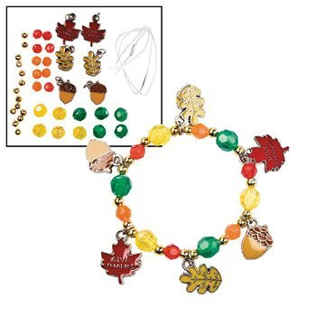 Oriental Trading Company Beaded Bracelets (Beaded Give Thanks Charm Bracelet Craft Kit - Religious Crafts & Crafts for Kids)