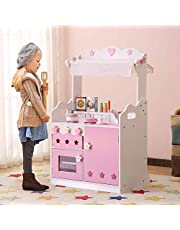 HILIROOM Kids Kitchen Playset Wooden   Shopping Kitchen Toy   Little Chef Wooden Play Kitchen with 30+ Kitchen Pretend Play Accessories Toys Pink for Toddlers Girls Ages 3+