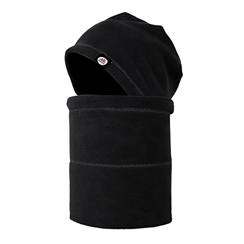 Leories Windproof Fleece Full Face Cap Hat Neck Warmer Face Mask Balaclava Ski Hat Black