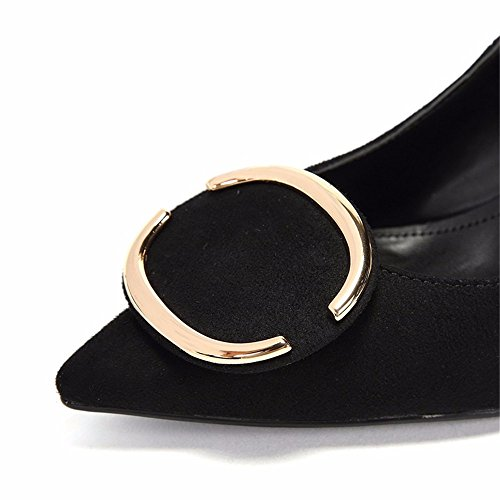 High Buckle Mouth Metal Singles Shallow Shoes Black New Shoes HXVU56546 Fine Autumn Heeled Large With Women'S fpUqEYzw1
