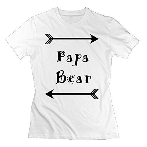 AKKK47 Women's Comfortable Papa Bear T Shirt White - Airport John Way