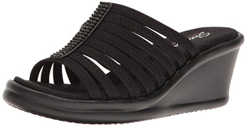 Skechers Cali Women's Rumblers Hot Shot Wedge Sandal,black/black,7 M US