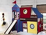 JACKPOT! Castle Low Loft Bed with Slide Red & Blue