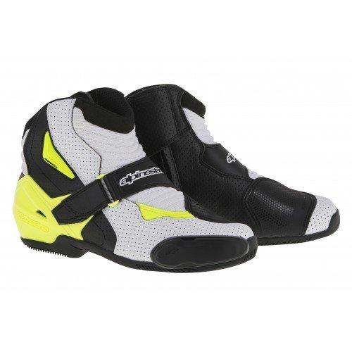 Alpinestars SMX-1R Vented Men's Street Motorcycle Boots - Black/White/Yellow / 39