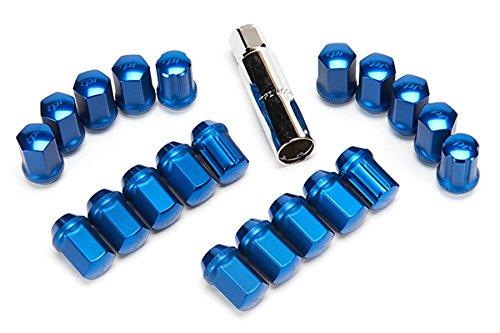 AL41-2514-44BL-20,Blue Annodized TPI M12x1.25 Cold Forged Aluminum Racing Lug Nuts w//locks 20pcs W//Lock JDM Taper Pro 19mm Hex W//Lock Kit 20pcs 35mm Height Cone Seat