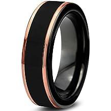 Tungsten Wedding Band Ring 6mm for Men Women Black & 18K Rose Gold Stepped Edge Polished Lifetime Guarantee