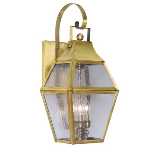 Livex Lighting 2082-22 Outdoor Wall Lantern with Seeded Glass Shades, Flemish - Outdoor Augusta Lantern