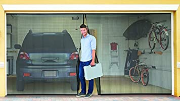 Black Jobar/'s JB4869 Double Garage Screen Door Prevents Bugs and Insects from Entering Allows Air Circulation Nylon Mesh Material