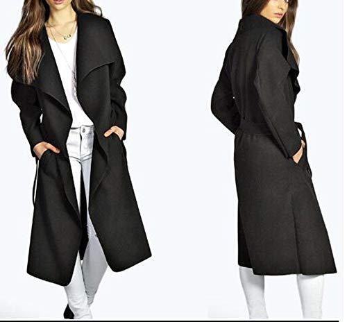 Otoño Negro Windrproof Cardigan Traje De Outwear Mujer Gabardina Top Chaqueta Long Invierno Open w1BA7q