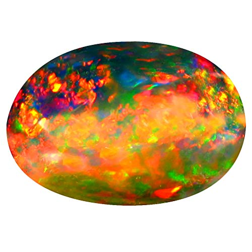 3.74 ct Oval Cabochon Cut (14 x 10 mm) Ethiopian Play of Colors Black Opal Loose Gemstone