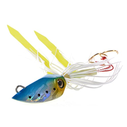 90014B| Dipsy Squid Head Skirt B Rubber Jig Lure| 42mm|1.65in Blue/Silver