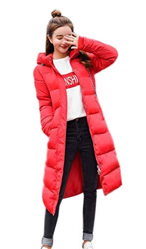 Ghope Femme Longue Hiver Chaud Manteau Longueur du Genou Manteaux Parka Jacket Fourrure avec Capuche Blouson Rouge