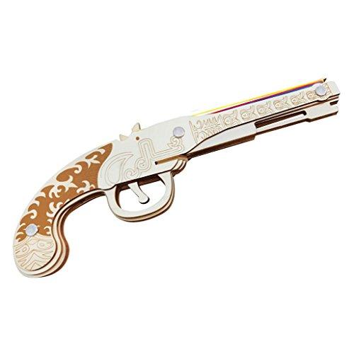 Jaswass Rubber Band Gun Pistol Handgun 3D Wooden Puzzle Toys for Kids 8+ and Adults