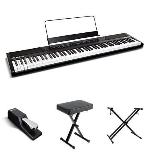 Alesis Recital 88-Key Beginner Digital Piano with Full-Size Semi-Weighted Keys and Power Supply, Stand, Bench, and Sustain Pedal
