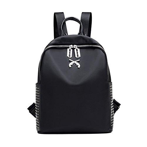 Weizhi Remache, Nueva mochila bandolera Modelo vertical de color sólido, bolsa de hombro, hombres y mujeres, bolsa de tela de nylon, Escuela Bolsa de viento,negro black