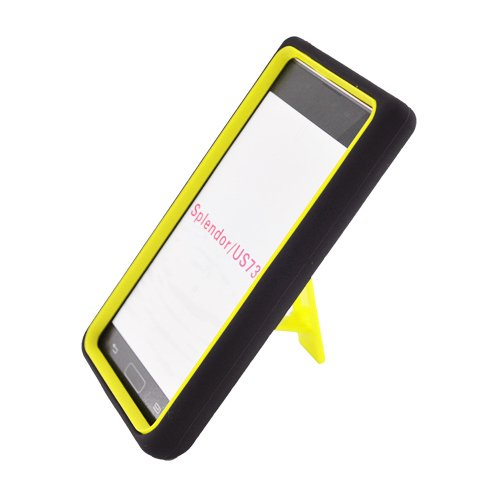 Eagle Cell PALGUS730SPSTYEBK Advanced Rugged Armor Hybrid Combo Case with Kickstand for LG Splendor / Venice US730 - Retail Packaging - Yellow/Black