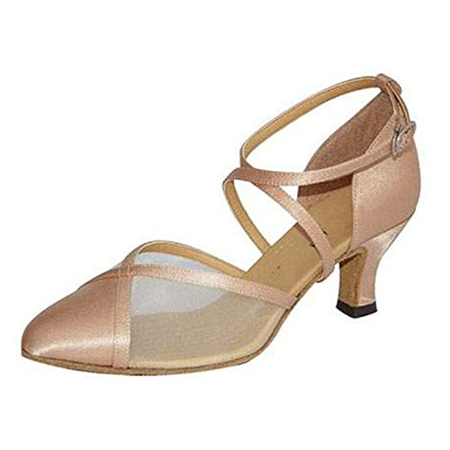 YFF Gift Women dance Shoes Ballroom latin Dance tango dancing shoes 6CM,Apricot color,36