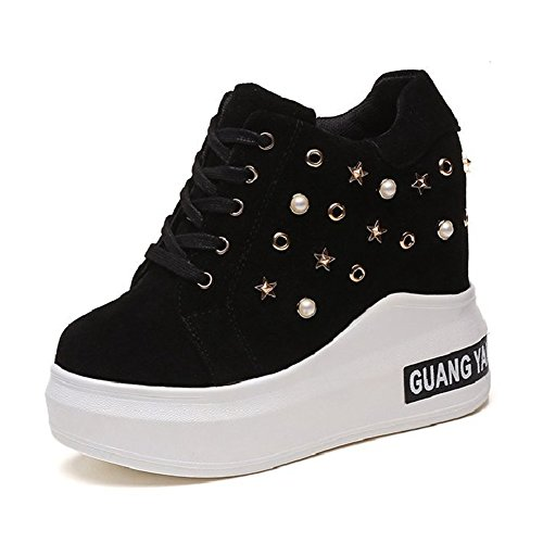 CYBLING Casual Women Anti-slip Rivets Platform Wedge Sneakers with Hidden High Heels Walking Shoes Black z8WPMve