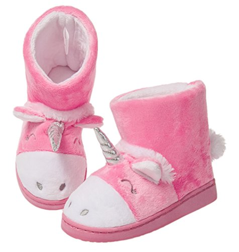 Girls Winter Warm Booties Slippers Cute Unicorn Plush Comfy Anti-Slip Bedroom Shoes(Toddler/Little Kid)