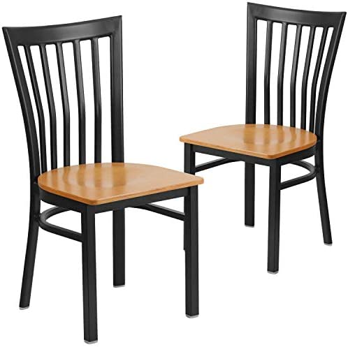 Flash Furniture 2 Pk. HERCULES Series Black School House Back Metal Restaurant Chair