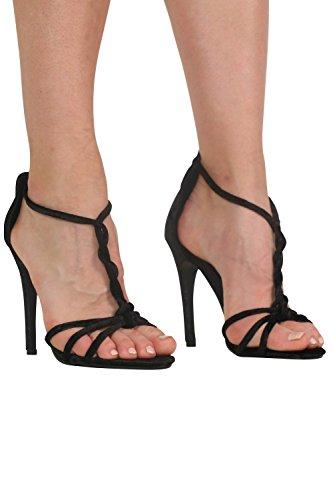 Negro Sandalias alto Strap Negro Velvet Twist mujer de PILOT® Slinky en tacón para RBT74HAq