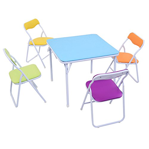 Globe House Products GHP Kids Folding Multi-Purpose Square Table & 4-Pcs 132-Lbs Capacity Pastel Chairs Set -