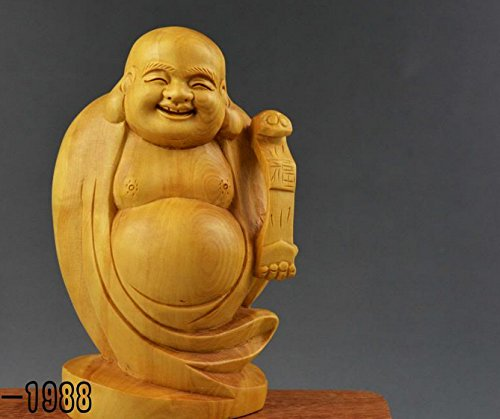 100% Genuine Boxwood Wood Carving Happy Smile Buddha Statue Fengshui Sculpture Smiling Maitreya Rosewood Netsuke Figure Wooded Carved Chinese China Art ()