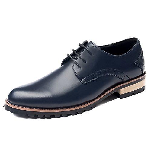 GRRONG Chaussures En Cuir Pour Hommes D'affaires Loisirs Pointu Jaune Rouge Bleu Noir blue RQp6Q