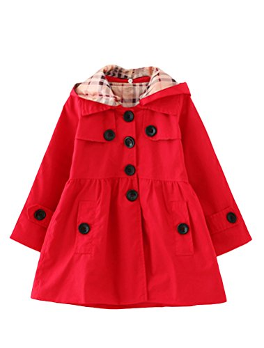 Designs Pea Red Sweet (Mallimoda Girl's Hooded Trench Coat Jacket Dress Windbreaker Outwear Red 2-3 Years)