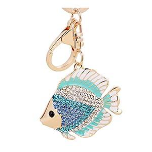 Aibearty Goldfish Crystal Keychain Animal Keyring Car Bag Accessory