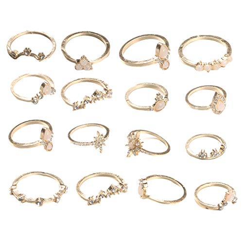 Twinsmall Retro Rings Hollow Carved Flowers Joint Knuckle Rings Sets Vintage Stackable for Women Hollow Carved Flowers (Silver, 16pcs)