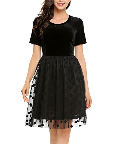 ACEVOG Women's Retro Short Sleeve Polka Dot Mesh Bubble Velvet Skater Dress - Bubble Hem Mini Dresses