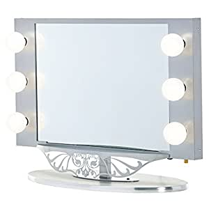 silver vanity girl starlet lighted vanity mirror with optic glass and 6 cosmetic. Black Bedroom Furniture Sets. Home Design Ideas