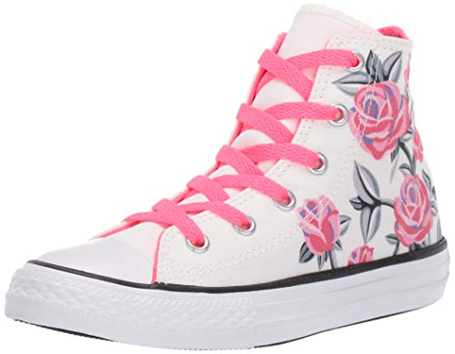 Converse Girls Kids' Chuck Taylor All Star Graphic High Top Sneaker, White/Racer Pink/Black 6 M US Big - Leather Star Hi Sneaker