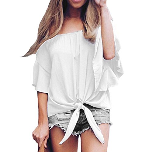 Women's Solid Off Shoulder Flare Sleeve Shirt Tie Knot Casual Blouses Tops (US12/2XL, White)