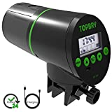 TOPBRY Automatic Fish Feeder,【Upgraded Version】 Digital Auto Fish Turtle Feeder for Aquarium and Fish Tank, USB Rechargeable Timer Fish Feeder Fish Food Dispenser