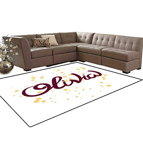 Olivia Door Mats Area Rug Dotted Background with Calligraphic Traditional Female Name Illustration Anti-Skid Area Rugs 6'x9' Maroon and -