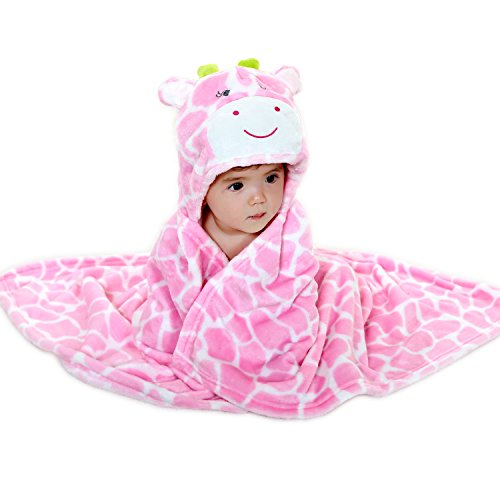 Toshibon 0-3 years old Baby boy or girl kid Bathrobe Towel Cloak with cute animal hood super soft and comfortable (Pink)