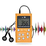 BTECH MPR-AF1 AM FM Portable Radio with Two Types of Stereo Headphones, Clock