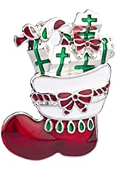 Lux Accessories Xmas Gifts Candy Cane Cross Christmas Brooch Pin