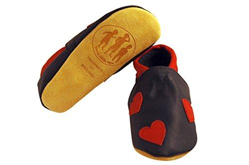 Three Little Imps Handgemachte weiche Kleinkind-Schuhe aus Leder �?Rote Herzen auf marineblauem Hintergrund 18 - 24m (RHNY) blau
