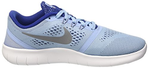 Nike Kids Free Rn (grande) Blcp / Mtllc Slvr-dp Ryl Bl-whit