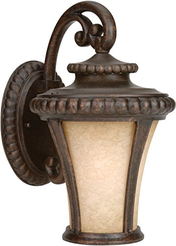 Craftmade Z1204-112 Wall Lantern with Antique Scavo Glass Shades, Bronze Finish