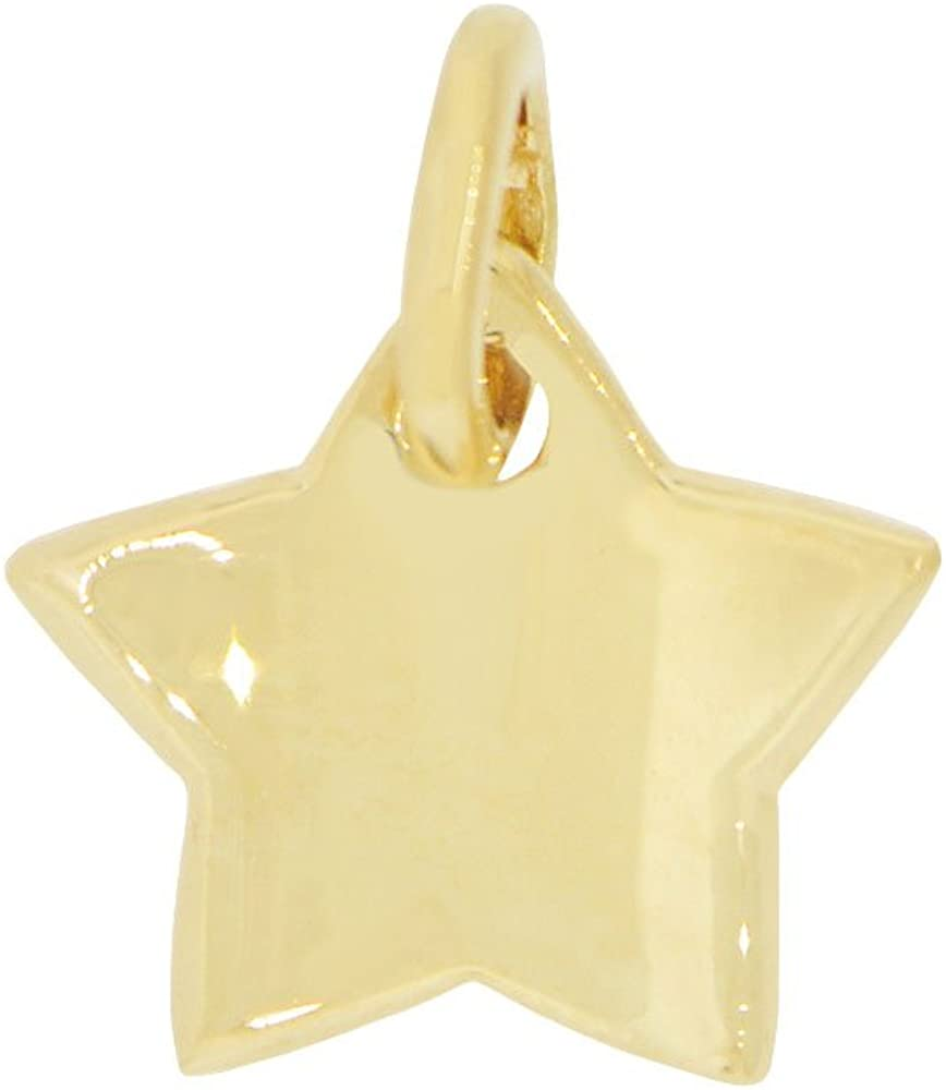 Small Concave Polished Star Pendant Charm 14k Yellow Gold