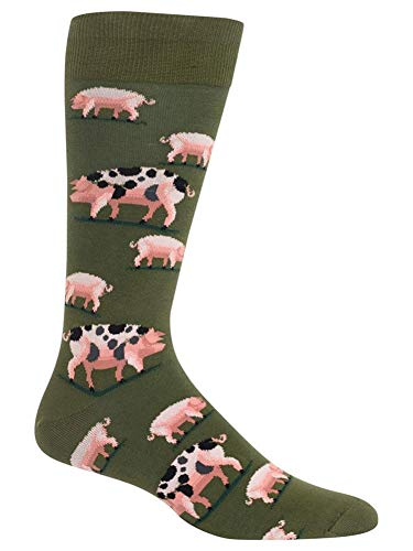Hot Sox Men's Spotted Pig Socks, Olive, Large