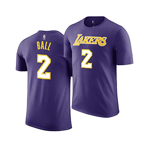 (Outerstuff NBA Youth Performance Game Time Team Color Player Name Number Jersey T-Shirt (Small 8, Lonzo Ball Purple))